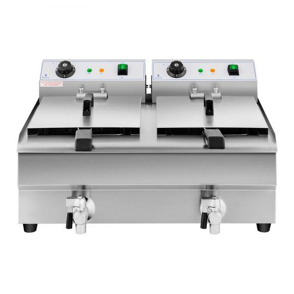 Elektrická fritéza - 2 x 13 litrov - vypúšťacie kohúty - 230 V -3