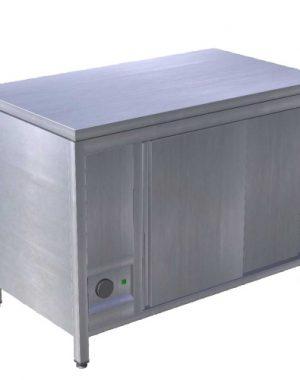 STÔL OHRIEVACÍ NA TANIERE - REŽÓN 1200MM, EOS, vydajný ohrevný pult slúži na ohrev tanierov, misiek a pod. s posuvnými dverami.Rozmery: 1200x700x850/900mm