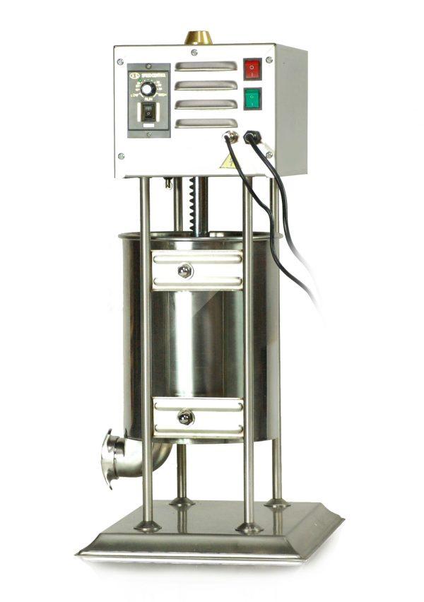 Elektrická plnička klobás 10 L výborný nástroj na profesionálnu výrobu rôznych druhov klobás, jaterníc, salám a iných domácich mäsiarskych výrobkov. Nerezové prevedenie.