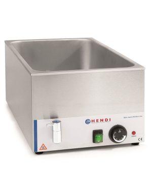 Vodný kúpeľ Bain Marie GN 1/1 s vypúštacím kohútikom. Vyrobené z nehrdzavejúcej ocele, pre nádoby s hĺbkou 150 mm. Nastavenie teploty do 85°C.