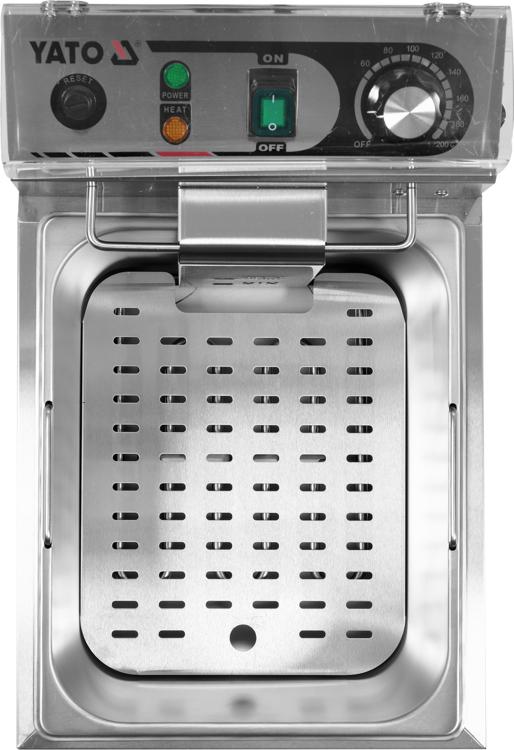 Elektrická fritéza 10 L, s maximálnou hladinou oleja 6L. Vyrobená z nehrdzavejúcej ocele, rozmer koša 215 x 195 x 95 mm. Výkon 3,0 kW.