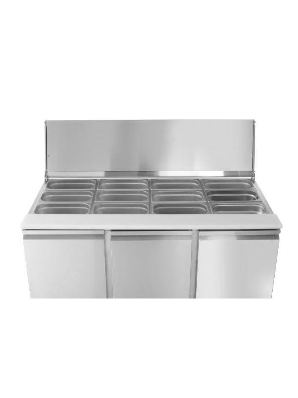 3-dverový chladiaci šalátový stôl s odklopným krytom 1365x700x888 mm | Arktic, 232811. vhodná pre 4x GN 1/1 - (H) 150 mm, nerezové prevedenie.