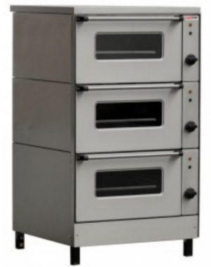 Elektrická pec trojpodlažná, NS-1306, smaltovaná komora, regulácia teploty: 50-300°C, presklené dvere, príkon elektro: 12,15kW, napätie 400V.