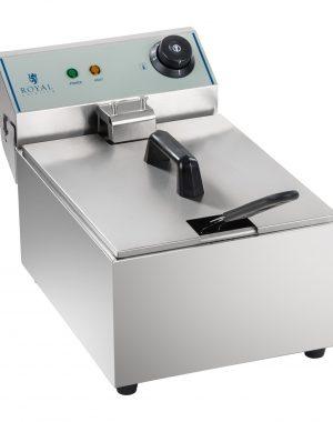 Fritéza 1x10L (EGO termostat) | RCEF-10EY-ECO, vyrobená z ušlachtilej ocele, výkon 3200 W, automatická kontrola stálosti teploty, ohrev do 200°C.