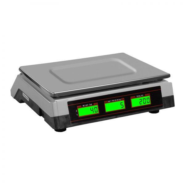 Obchodné váhy - 40 kg / 2 g biela- 2x LCD displej. Funkcie tárovanie, PCS umožňuje nastaviť počet kusov, výpočet ceny a kontrola proti preťaženiu.