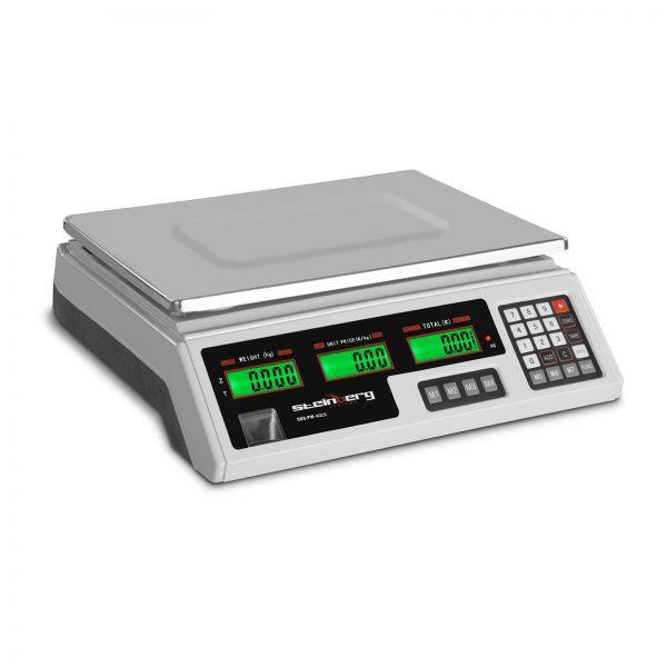 Obchodné váhy - 40 kg / 2 g biela - 2x LCD displej