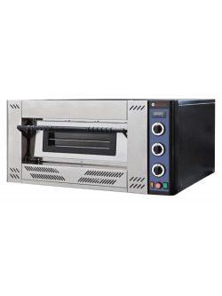 Plynová pizza pec 220382 s oceľovou skriňou čiernej farby s výkonom 16,1 kW s teplotným rozsahom do 450 ° C, kapacita 4ks pizze s priemerom 30 cm.