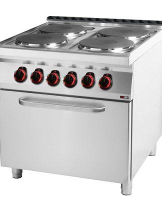 Sporák s elektrickou rúrou, 4 x platňa, 800/900, SPT-90/80-21E, príkon elektro: 20kW/400. počet platní: 4ks. Regulácia teploty rúry: 50-300°C.