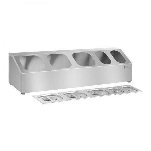 GN nadstavba – 1/6 a 1/9 s vekom vrátane 5 GN nádob, vyrobené z nerezovej ocele, možnosť umývať v umývačke riadu, protišmykové nožičky.