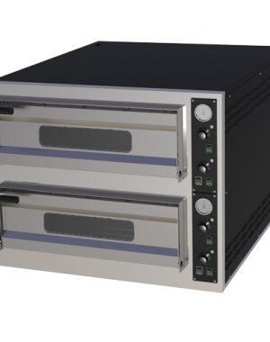 Pizza pec 2X6 | B-12T, dolné šamotové dosky, teplomer, osvetlenie komory, presklenné diverka, príkon 14,4 kW, nastavenie teploty od 50-450°C.