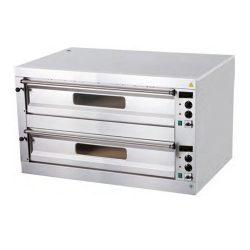 Pizza pec 2X6, celošamotové dosky | digitálny teplomer P-12, odvetranie komory, dvojpodlažné prevedenie, regulácia teploty: 4 x termostat 50-450°C.