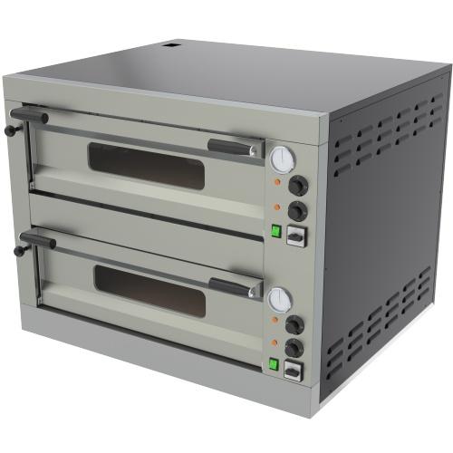 Pizza pec 2X6 | E-12L, dolné šamotové dosky, teplomer, osvetlenie a odvetranie komory, príkon 16 kW, mechanické ovládanie.