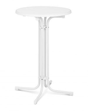 Barový stôl- bielý – skladací – Ø70 cm – 110 cm RC-BIS70FW -1