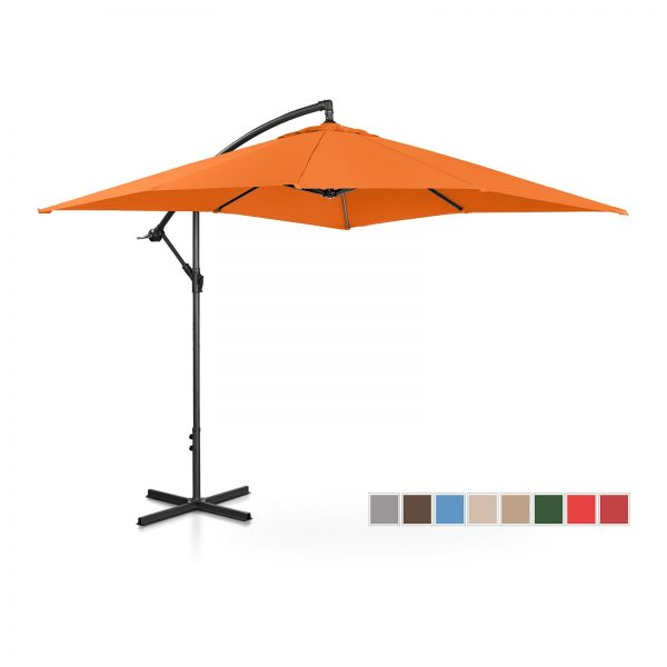 Bočný záhradný slnečník - 250 x 250 cm - oranžový   UNI_UMBRELLA_SQ250OR