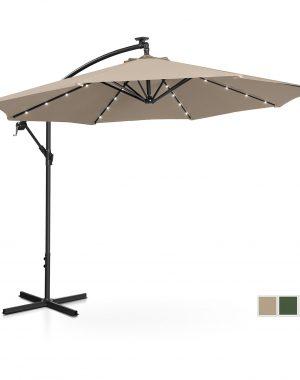 Bočný záhradný slnečník - Ø300 cm - krémový - LED | UNI_UMBRELLA_R300CRL
