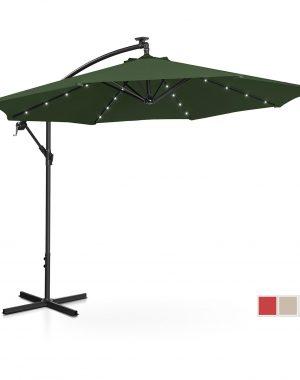 Bočný záhradný slnečník - Ø300 cm - zelený - LED | UNI_UMBRELLA_R300GRL