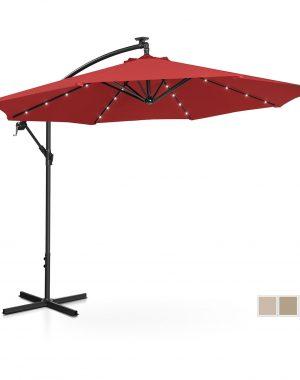 Bočný záhradný slnečník - Ø300 cm - červený - LED | UNI_UMBRELLA_R300REL
