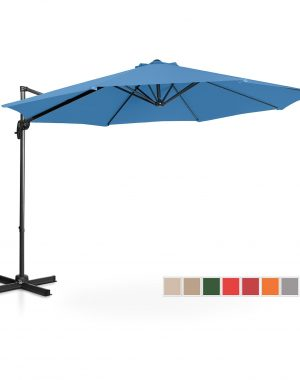 Bočný záhradný slnečník - Ø300 cm - modrý | UNI_UMBRELLA_2R300BL