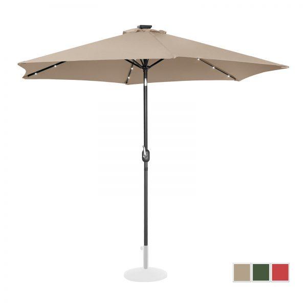 Stojaci záhradný slnečník - Ø300 cm - krémový - LED | UNI_UMBRELLA_TR300CRL