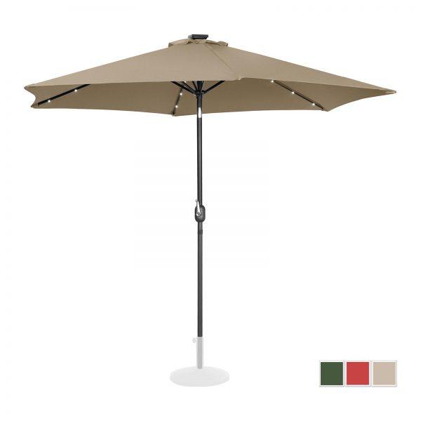 Stojací záhradný slnečník - Ø300 cm - béžový - LED | UNI_UMBRELLA_TR300TAL