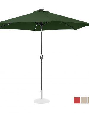 Stojaci záhradný slnečník - Ø300 cm - zelený - LED | UNI_UMBRELLA_TR300GRL