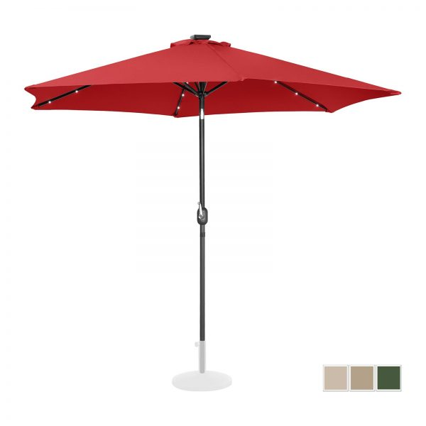 Stojaci záhradný slnečník - Ø300 cm - červený - LED | UNI_UMBRELLA_TR300REL