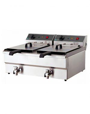 Elektrická fritéza s kohútikom - 2x10 l | HKN-FT1010N
