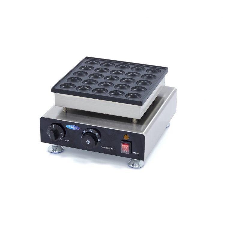 Palacinkovač na mini palacinky Poffertjespan-25KS Maxima 09374130má hliníkový pekáč s nepriľnavým povrchom, ktorý zaisťuje dobré vedenie tepla
