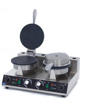 Výrobník na zmrzlinové kornútky-dvojitý | Maxima 09365136 má výkonné vykurovacie teleso, ktoré dokáže formu rýchlo zohriať a udržať ju horúcu