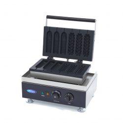 Vaflovač na Corn Dog & Hot Dog - 6 ks | Maxima 09374240 má výkonné vyhrievacie teleso, pomocou ktorého sa forma rýchlo ohrieva.