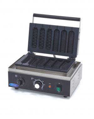 Vaflovač na Corn Dog & Hot Dog | Maxima 09365140 má výkonné vyhrievacie teleso, ktoré dokáže formu rýchlo zohriať a udržať ju horúcu.